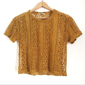 Zara Cropped Lace Short Sleeve T-Shirt Small